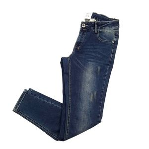 Dark Distressed Denim Skinny Jeans {American Blue}
